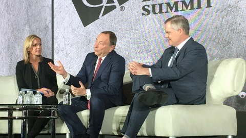 <p>               NHL Commissioner Gary Bettman, center, speaks as part of a panel on sports betting at an event organized by the American Gaming Association, Friday, March 28, 2019, in Oxon Hill, Md. The NHL on Thursday announced a deal with sports book operator William Hill, its third deal with a gambling operator in the past six months. (AP Photo/Ben Nuckols)             </p>