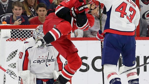<p>               Carolina Hurricanes' Nino Niederreiter (21) tries to score on Washington Capitals goalie Braden Holtby as Capitals' Tom Wilson (43) defends during the first period of an NHL hockey game in Raleigh, N.C., Thursday, March 28, 2019. (AP Photo/Gerry Broome)             </p>