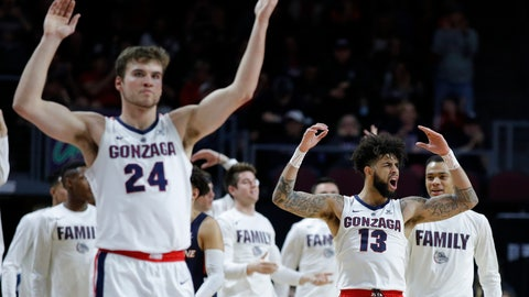 <p>               Gonzaga's Josh Perkins (13) and Corey Kispert (24) celebrate after a play against Pepperdine during the second half of an NCAA semifinal college basketball game at the West Coast Conference tournament, Monday, March 11, 2019, in Las Vegas. (AP Photo/John Locher)             </p>