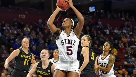 <p>               Mississippi State's Anriel Howard, center, shoots while defended by Missouri's Haley Troup (11) Jordan Chavis (24) and Lauren Aldridge during the first half of an NCAA college basketball game in the Southeastern Conference women's tournament Saturday, March 9, 2019, in Greenville, S.C. (AP Photo/Richard Shiro)             </p>
