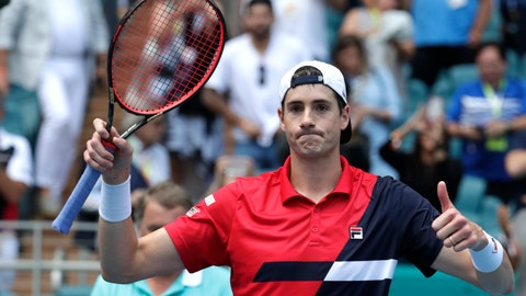 <p>               John Isner celebrates after defeating Felix Auger-Aliassime, of Canada, during their semifinal match at the Miami Open tennis tournament, Friday, March 29, 2019, in Miami Gardens, Fla. Isner won 7-6 (3), 7-6 (4). (AP Photo/Lynne Sladky)             </p>