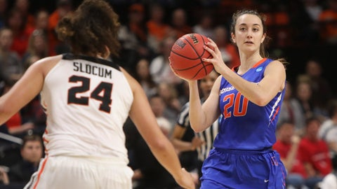 <p>               Boise State's Marta Hermida (20) looks for a way past Oregon State's Destiny Slocum (24) during the first half of a first-round game of the NCAA women's college basketball tournament in Corvallis, Ore., Saturday, March 23, 2019. (AP Photo/Amanda Loman)             </p>