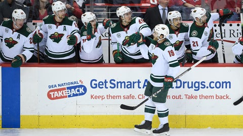 <p>               Minnesota Wild center Luke Kunin (19) is congratulated for his goal during the third period of an NHL hockey game against the Washington Capitals, Friday, March 22, 2019, in Washington. The Wild won 2-1. (AP Photo/Nick Wass)             </p>