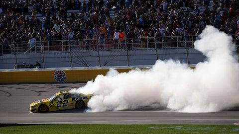 <p>               Joey Logano (22) does a burnout after winning a NASCAR Cup Series auto race at Las Vegas Motor Speedway, Sunday, March 3, 2019, in Las Vegas. (AP Photo/John Locher)             </p>