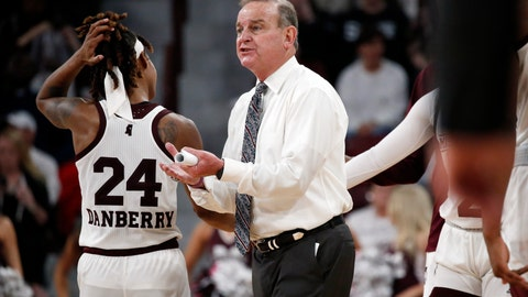 <p>               Mississippi State coach Vic Schaefer encourages his players during the second half of an NCAA college basketball game against LSU in Starkville, Miss., Thursday, Feb. 28, 2019. Mississippi State won 76-56. (AP Photo/Rogelio V. Solis)             </p>