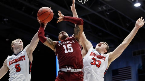<p>               Belmont's Adam Kunkel (5) blocks a shot by Temple's Nate Pierre-Louis (15) during the second half of a First Four game of the NCAA college basketball tournament, Tuesday, March 19, 2019, in Dayton, Ohio. (AP Photo/John Minchillo)             </p>