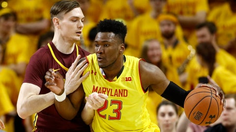 <p>               Maryland forward Bruno Fernando, right, of Angola, drives against Minnesota center Matz Stockman, of Norway, in the first half of an NCAA college basketball game, Friday, March 8, 2019, in College Park, Md. (AP Photo/Patrick Semansky)             </p>