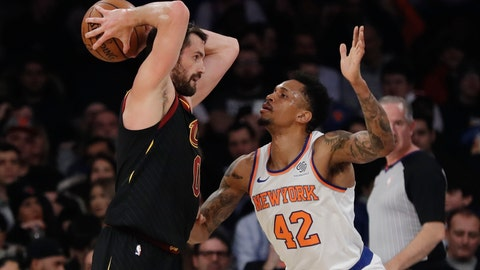 <p>               New York Knicks' Lance Thomas (42) defends Cleveland Cavaliers' Kevin Love (0) during the first half of an NBA basketball game Thursday, Feb. 28, 2019, in New York. (AP Photo/Frank Franklin II)             </p>