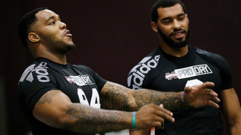 <p>               Former Mississippi State defensive players Jeffery Simmons, left, and Montez Sweat, joke around during Pro Day at the university, as other players were being tested by NFL football scouts and coaches, Wednesday, March 27, 2019, in Starkville, Miss. Sweat ran some agility drills, while Simmons stayed on the sidelines as he recovers from a leg injury. (AP Photo/Rogelio V. Solis)             </p>