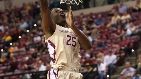 <p>               Florida State's Mfiondu Kabengele breaks away to score against North Carolina State in the first half of an NCAA college basketball game Saturday, March 2, 2019, in Tallahassee, Fla. (AP Photo/Steve Cannon)             </p>