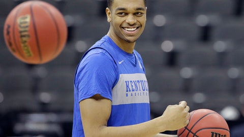 <p>               Kentucky's PJ Washington smiles during practice for the NCAA men's college basketball tournament Thursday, March 28, 2019, in Kansas City, Mo. Kentucky plays Houston in a Midwest Regional semifinal game on Friday. (AP Photo/Charlie Riedel)             </p>
