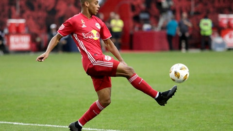 <p>               FILE - In this Sept. 22, 2018, file photo, New York Red Bulls midfielder Tyler Adams kicks the ball against Toronto FC during the second half of a soccer game in Harrison, N.J. New U.S. coach Gregg Berhalter announced a surprising position change after his first training session with the full American player pool, shifting Adams to right back and DeAndre Yedlin to wide midfield. (AP Photo/Julio Cortez, File)             </p>