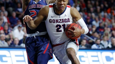 <p>               Gonzaga's Rui Hachimura drives into St. Mary's Malik Fitts during the first half of an NCAA college basketball game for the West Coast Conference men's tournament title, Tuesday, March 12, 2019, in Las Vegas. (AP Photo/John Locher)             </p>