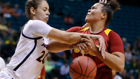 <p>               Arizona's Dominique McBryde, left, fouls Southern California's Kayla Overbeck during the first half of an NCAA college basketball game at the Pac-12 women's tournament Thursday, March 7, 2019, in Las Vegas. (AP Photo/John Locher)             </p>