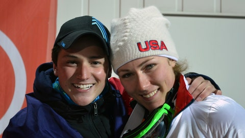 <p>               In this February 2014 photo provided by Kathleen Walsh, Thomas Walsh and Mikaela Shiffrin pose in Sochi, Russia. Ten years ago, ski racer Thomas Walsh was diagnosed with cancer that ended up taking his pelvis. By his side that day was Olympic champion Mikaela Shiffrin. She remains one of his biggest fans as Walsh rises through the ranks as a Paralympian. (Kathleen Walsh via AP)             </p>