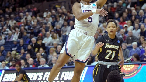 <p>               Connecticut's Crystal Dangerfield (5) goes up for two points against Towson's Qierra Murray (11) during a first round women's college basketball game in the NCAA Tournament, Friday, March 22, 2019, in Storrs, Conn. (AP Photo/Stephen Dunn)             </p>