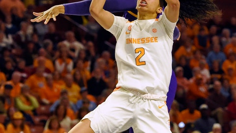 <p>               Tennessee's Evina Westbrook (2) shoots in front of LSU's Jalaysha Thomas during the second half of an NCAA college basketball game at the Southeastern Conference women's tournament, Thursday, March 7, 2019, in Greenville, S.C. (AP Photo/Richard Shiro)             </p>