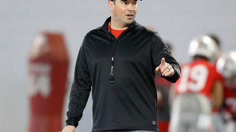 <p>               FILE - In this Wednesday, March 6, 2019 file photo, Ohio State NCAA college football head coach Ryan Day gestures during football practice in Columbus, Ohio. New Ohio State coach Ryan Day's 10 assistant coaches will be paid a total of more than $7.4 million this year. Contracts of the assistants were released by Ohio State on Monday, March 11, 2019. Co-defensive coordinator Greg Mattison tops the list at $1.1 million. (AP Photo/Paul Vernon, File)             </p>