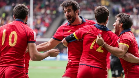 <p>               Spain's Javier De Juan (3) celebrates with teammates after defeating New Zealand during World Rugby Sevens Series rugby action in Vancouver, British Columbia, Saturday, March 9, 2019. (Ben Nelms/The Canadian Press via AP)             </p>