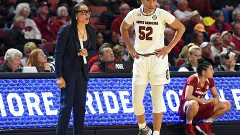 <p>               South Carolina head coach Dawn Staley, left, speaks to her player Tyasha Harris during the first half of a women's Southeastern Conference NCAA college basketball tournament game against Arkansas, Friday, March 8, 2019, in Greenville, S.C. (AP Photo/Richard Shiro)             </p>