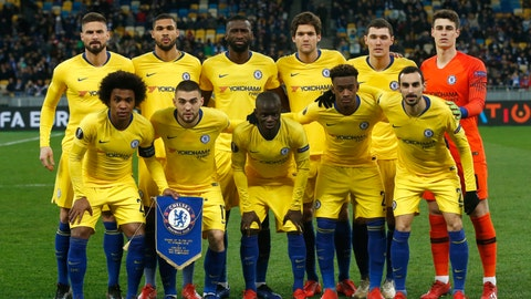 <p>               Chelsea starting players pose for a team photo at the beginning of the Europa League round of 16, second leg soccer match between Dynamo Kiev and Chelsea at the Olympiyskiy stadium in Kiev, Ukraine, Thursday, March 14, 2019. (AP Photo/Efrem Lukatsky)             </p>