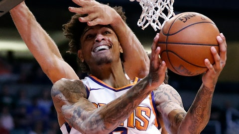 <p>               Phoenix Suns forward Kelly Oubre Jr. (3) is fouled by Milwaukee Bucks center Brook Lopez during the second half of an NBA basketball game, Monday, March 4, 2019, in Phoenix. (AP Photo/Matt York)             </p>