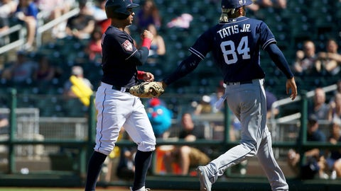 <p>               San Diego Padres' Fernando Tatis Jr. (84) tags out Cleveland Indians' Leonys Martin, left, in a rundown during the third inning of a spring training baseball game Monday, March 18, 2019, in Goodyear, Ariz. (AP Photo/Ross D. Franklin)             </p>