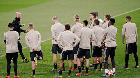 <p>               Ajax players take part in a training session in Madrid, Monday March 4, 2019. Real Madrid will play against Ajax in a Champions League soccer match on Tuesday. (AP Photo/Bernat Armangue)             </p>