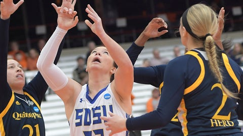 <p>               South Dakota State's Sydney Palmer (32) keeps her eye on the ball against Quinnipiac during of a first-round game in the NCAA women's college basketball tournament in Syracuse, N.Y., Saturday, March 23, 2019. South Dakota State won 76-65. (AP Photo/Heather Ainsworth)             </p>