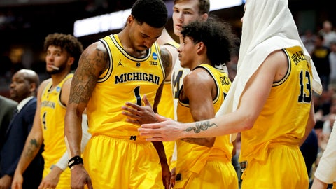 <p>               Michigan guard Charles Matthews leaves the court during the team's loss to Texas Tech in an NCAA men's college basketball tournament West Region semifinal Thursday, March 28, 2019, in Anaheim, Calif. (AP Photo/Jae C. Hong)             </p>
