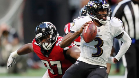 <p>               FILE - In this Dec. 2, 2018, file photo, Baltimore Ravens quarterback Robert Griffin III (3) runs out of the pocket as Atlanta Falcons defensive tackle Grady Jarrett (97) defends during the second half of an NFL football game in Atlanta. The Falcons have placed a franchise tag on Jarrett while saying they still hope to negotiate a long-term contract with the defensive tackle. (AP Photo/John Bazemore, File)             </p>