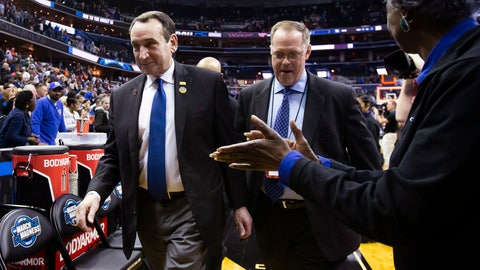 <p>               Duke coach Mike Krzyzewski, left, heads off the court after the team's NCAA men's college basketball tournament East Region semifinal against Virginia Tech in Washington, Friday, March 29, 2019. Duke won 75-73. (AP Photo/Alex Brandon)             </p>