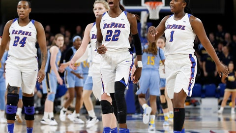 <p>               DePaul forward Chante Stonewall (22) reacts after scoring against Marquette during the second half of an NCAA college basketball game in the Big East women's tournament final Tuesday, March 12, 2019, in Chicago. (AP Photo/Kamil Krzaczynski)             </p>