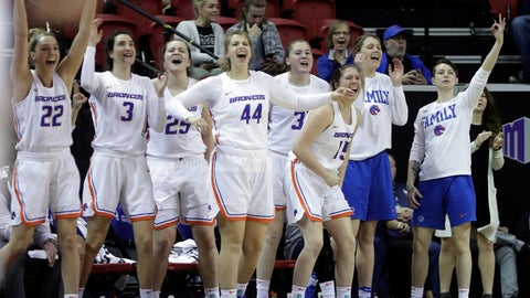 <p>               Boise State's bench reacts after a teammate's 3-pointer during the first half of an NCAA college basketball game against Wyoming for the Mountain West Conference women's tournament championship Wednesday, March 13, 2019, in Las Vegas. (AP Photo/Isaac Brekken)             </p>