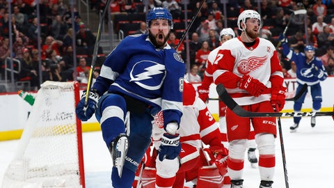 <p>               Tampa Bay Lightning's Nikita Kucherov celebrates his goal against the Detroit Red Wings in the third period of an NHL hockey game, Thursday, March 14, 2019, in Detroit. Tampa Bay won 5-4. (AP Photo/Paul Sancya)             </p>