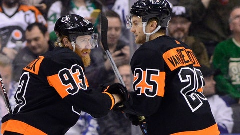 <p>               Philadelphia Flyers right wing Jakub Voracek (93) celebrates his goal with James van Riemsdyk (25) during the first period of an NHL hockey game against the Toronto Maple Leafs on Friday, March 15, 2019, in Toronto. (Frank Gunn/The Canadian Press via AP)             </p>