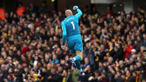 <p>               Watford goalkeeper Heurelho Gomes celebrates after teammate Etienne Capoue scores his side's first goal of the game  during the FA Cup quarter final soccer match between Watford and Crystal Palace , at Vicarage Road, in Watford, England, Saturday March 16, 2019. (Jonathan Brady/PA via AP)             </p>