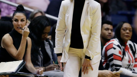 <p>               Baylor head coach Kim Mulkey screams at her players during the first half of an NCAA college basketball game against West Virginia, Monday, March 4, 2019, in Morgantown, W.Va. (AP Photo/Raymond Thompson)             </p>
