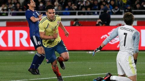 <p>               Colombia's Radamel Falcao shoots a penalty kick to score a goalduring a friendly soccer match between Japan and Colombia in Yokohama, Japan, Friday, March 22, 2019. (AP Photo/Shuji Kajiyama)             </p>