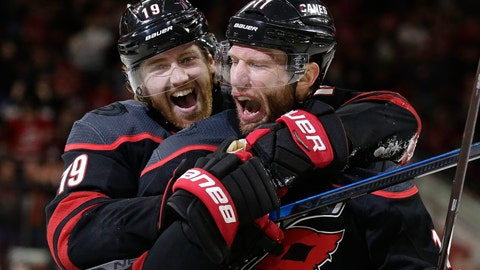 <p>               Carolina Hurricanes' Dougie Hamilton (19) celebrates with Jordan Staal (11) following Staal's goal against the St. Louis Blues' during the third period of an NHL hockey game in Raleigh, N.C., Friday, March 1, 2019. Carolina won 5-2. (AP Photo/Gerry Broome)             </p>