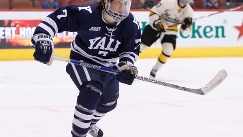 <p>               FILE - In this Jan. 10, 2016, file photo, Yale forward Joe Snively (7) skates during the first period of an NCAA college game against Michigan Tech at the Desert Hockey Classic tournament, in Glendale, Ariz. The Washington Capitals have signed college free agent forward and local product Joe Snively to a two-year entry-level contract that begins next season. General manager Brian MacLellan announced the deal Monday, March 18, 2019. (AP Photo/Rick Scuteri, File)             </p>