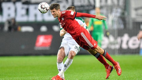 <p>               Bayern's Thomas Mueller jumps for the ball during the German Bundesliga soccer match between Borussia Moenchengladbach and FC Bayern Munich in Moenchengladbach, Germany, Saturday, March 2, 2019. (AP Photo/Martin Meissner)             </p>
