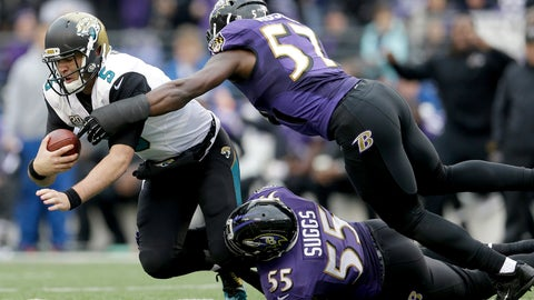 <p>               FILE - In this Dec. 14, 2014, file photo, Jacksonville Jaguars quarterback Blake Bortles (5) is sacked by Baltimore Ravens linebackers C.J. Mosley (57) and Terrell Suggs (55) during the first half of an NFL football game in Baltimore. With unrestricted free agent linebackers C.J. Mosley, Terrell Suggs and Za'Darius Smith headed elsewhere after the release last week of safety Eric Weddle, the Ravens lost four key contributors while adding much-needed salary cap space. (AP Photo/Patrick Semansky, File)             </p>