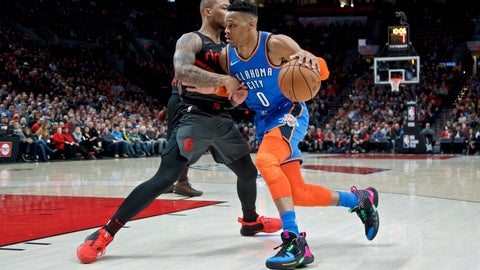 <p>               Oklahoma City Thunder guard Russell Westbrook, right, drives Portland Trail Blazers guard Damian Lillard during the first half of an NBA basketball game in Portland, Ore., Thursday, March 7, 2019. (AP Photo/Craig Mitchelldyer)             </p>