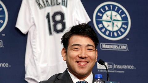 <p>               FILE - In this Jan. 3, 2019, file photo, Seattle Mariners pitcher Yusei Kikuchi smiles at a news conference following his signing with the baseball team in Seattle. Kikuchi was determined from the time he was 15 years old to be the next great Japanese import to dazzle American fans and befuddle major league hitters. That dream is now the reality for the newest starting pitcher for the Mariners. (AP Photo/Elaine Thompson, File)             </p>