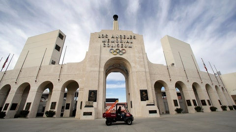 <p>               FILE - This Jan. 13, 2016 file photo shows the peristyle of the Los Angeles Memorial Coliseum in Los Angeles. The University of Southern California's sale of naming rights for Los Angeles Memorial Coliseum is being criticized as dishonoring the historic stadium's dedication as a memorial to soldiers who fought and died in World War I. USC announced last year that the stadium will be renamed United Airlines Memorial Coliseum as part of a $270 million renovation of the facility, which opened in 1923. (AP Photo/Nick Ut, File)             </p>