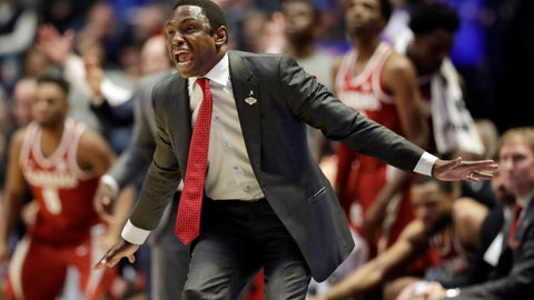 <p>               Alabama head coach Avery Johnson yells to his players in the second half of an NCAA college basketball game against Mississippi at the Southeastern Conference tournament Thursday, March 14, 2019, in Nashville, Tenn. Alabama won 62-57. (AP Photo/Mark Humphrey)             </p>