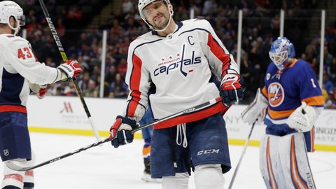 <p>               Washington Capitals' Alex Ovechkin reacts during the first period of an NHL hockey game as he skates past New York Islanders goaltender Thomas Greiss Friday, March 1, 2019, in Uniondale, N.Y. (AP Photo/Frank Franklin II)             </p>