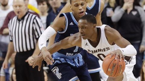 <p>               St. Bonaventure's Kyle Lofton (0) protects the ball from Rhode Island's Fatts Russell (1) during the second half of an NCAA college basketball game in the semifinal round of the Atlantic 10 men's tournament Saturday, March 16, 2019, in New York. St. Bonaventure won 68-51. (AP Photo)             </p>