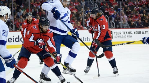 <p>               Washington Capitals defenseman Michal Kempny (6), of the Czech Republic, and center Nicklas Backstrom (19), of Sweden, compete for the puck against Tampa Bay Lightning defenseman Victor Hedman (77) during the first period of an NHL hockey game Wednesday, March 20, 2019, in Washington. (AP Photo/Nick Wass)             </p>